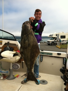 Angler with Pacific halibut