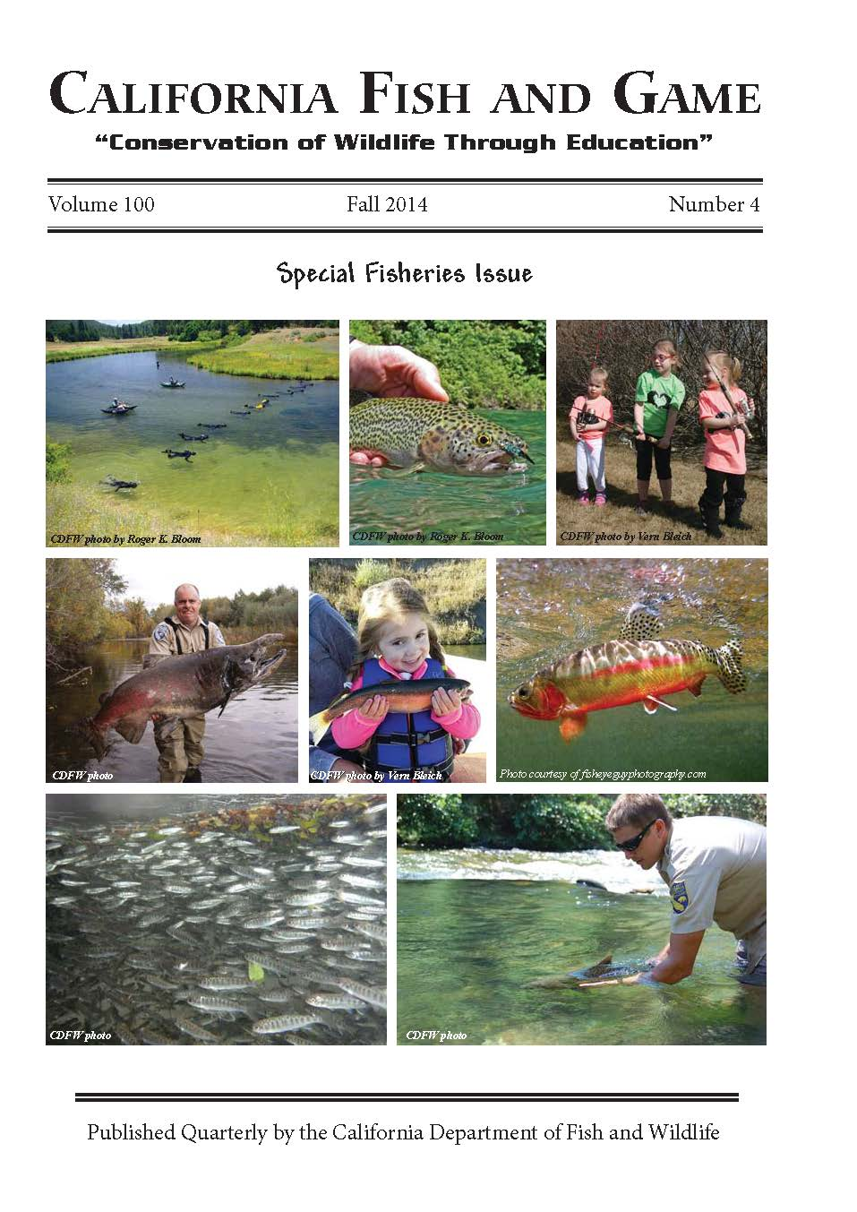 California fish and game scientific journal completes for Department of fish and game california