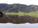 Coastal foothills behind a green meadow are reflected in a small lake