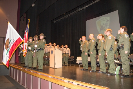 CDFW Honor Guard with newly sworn-in cadets.