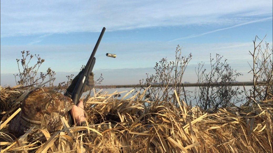 hunter in duck blind