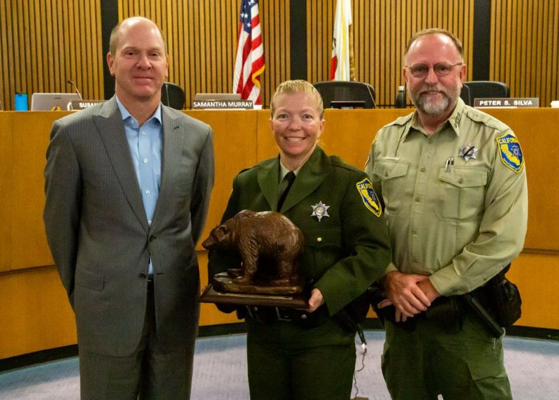 CDFW Director Charlton H. Bonham, CDFW Warden Anastasia Norris and CDFW Chief David Bess.