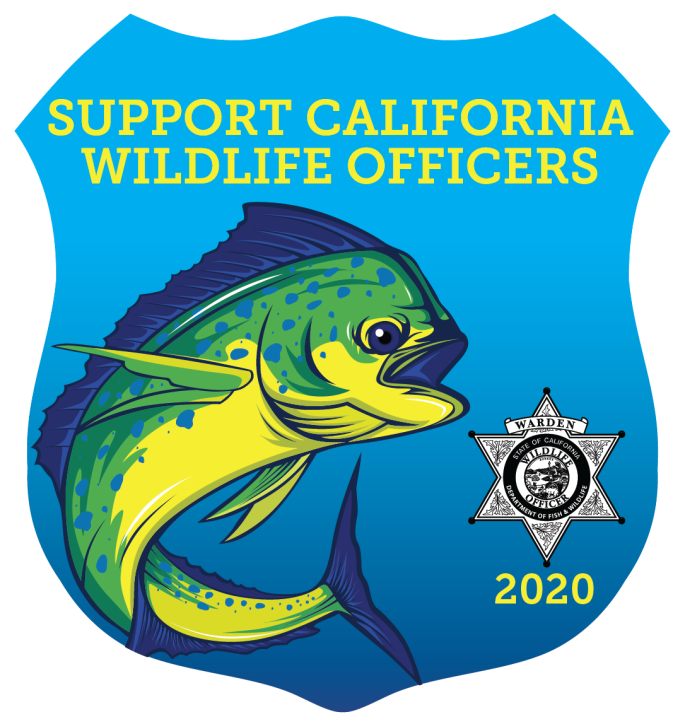 shield shaped stamp with dorado illustration, warden badge, and text - Support California Wildlife Officers