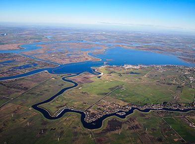 aerial view of winding delta waters